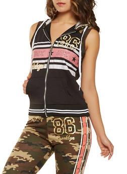 Sleeveless Graphic Zip Front Sweatshirt - OLIVE - 3056038346050