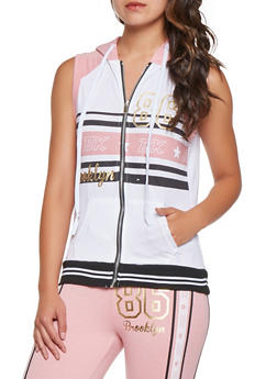 Sleeveless Graphic Zip Front Sweatshirt - 3056038346050
