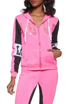 Sequin Love Graphic Hooded Sweatshirt - 3056038347040