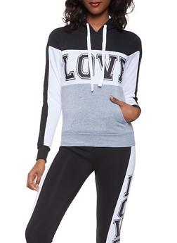 Love Graphic Hooded Sweatshirt - 3056038347070