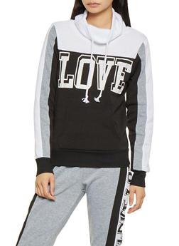 Love Graphic Color Block Sweatshirt - 3056038347080