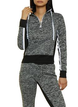 Half Zip Color Block Pullover Sweatshirt - 3056038347104