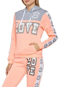 Love Graphic Color Block Sweatshirt - 3056038347130