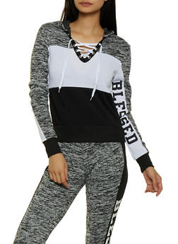 Blessed Color Block Lace Up Sweatshirt - 3056038347142