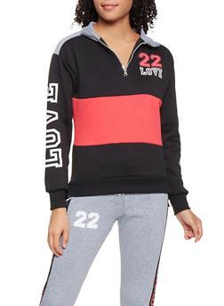Love Graphic Color Block Sweatshirt - 3056038347180