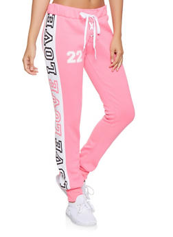 Love Graphic Lace Up Sweatpants - 3056038347181