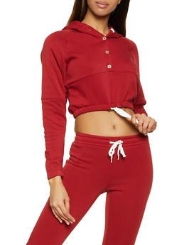 Half Button Hooded Sweatshirt - 3056038347182