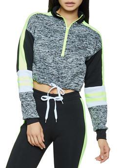 Cropped Varsity Stripe Color Block Sweatshirt - NEON LIME - 3056038347262