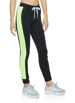 Contrast Side Joggers - LIME - 3056038347263