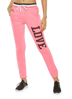 Love Graphic Sweatpants - 3056038347281