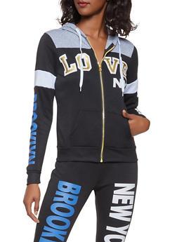 Love Graphic Zip Up Sweatshirt - 3056038347300