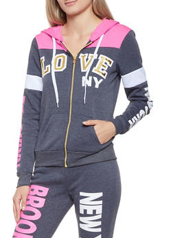 Love Graphic Zip Up Sweatshirt - 3056038347300