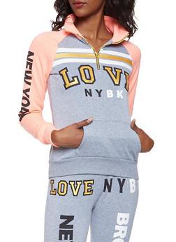 Love Graphic Half Zip Sweatshirt - 3056038347320