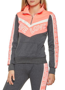 Love Graphic Color Block Sweatshirt - 3056038347380