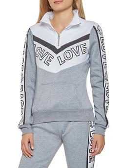 Love Graphic Color Block Sweatshirt - 3056038347380