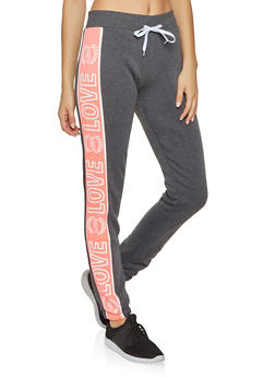 Love Graphic Color Block Sweatpants - 3056038347381