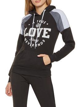 Love Graphic Color Block Sweatshirt - 3056038347392
