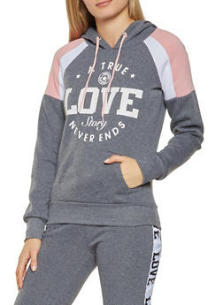 Love Graphic Color Block Sweatshirt - 3056038347392