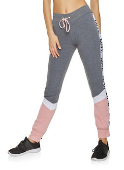 Love Graphic Color Block Sweatpants - 3056038347393