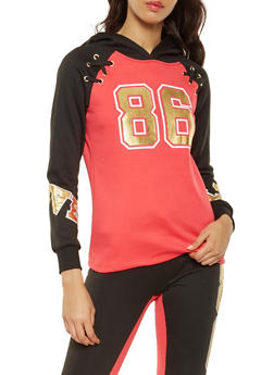 Lace Up Foil Graphic Sweatshirt - 3056038347440