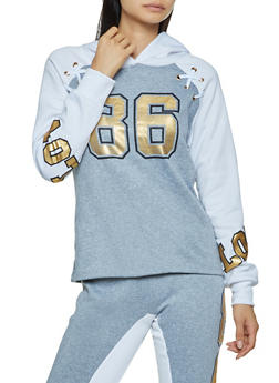 Love 86 Graphic Lace Up Sweatshirt - 3056038347442