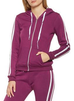 Varsity Stripe Zip Up Hooded Sweatshirt - 3056038347450