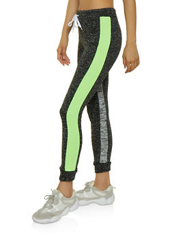 Marled Stripe Side Joggers - LIME - 3056038347601