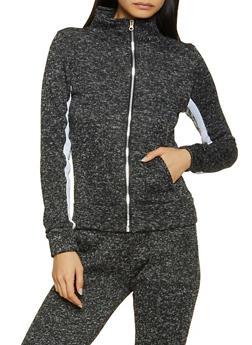 Marled Knit Zip Sweatshirt - 3056038347610