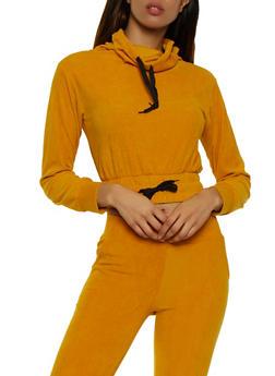 Corduroy Cowl Neck Sweatshirt - 3056038347770