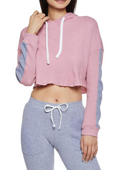 Thermal Hooded Crop Top - 3056038347822