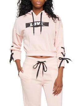 Lace Up Sleeve Love Graphic Sweatshirt - 3056051060031