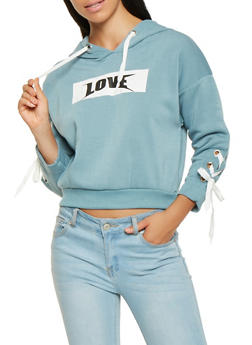 Lace Up Sleeve Love Graphic Sweatshirt - 3056051060031