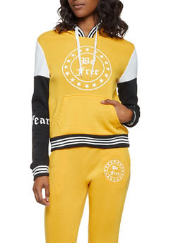 Striped Trim Graphic Hooded Sweatshirt - 3056051061310