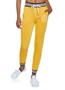 Striped Trim Graphic Sweatpants - 3056051061311