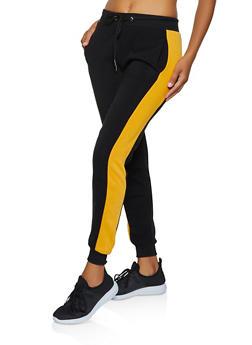 Fleece Contrast Trim Joggers - 3056051061571