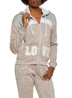 Zip Front Love Hooded Sweatshirt - 3056051061750