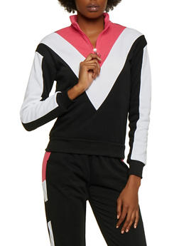 Chevron Color Block Zip Neck Sweatshirt - 3056051061850