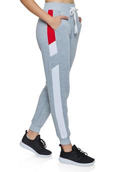 Color Block Detail Fleece Lined Joggers - 3056051061851