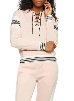 Graphic Lace Up Sweatshirt - 3056051063450