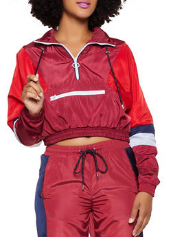 Color Block Zip Neck Windbreaker - 3056051065340