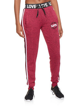 Love Graphic Side Stripe Joggers - 3056051065640