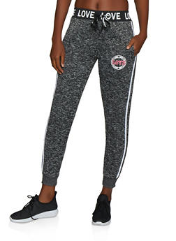 Love Graphic Knit Joggers - 3056051066393