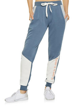 Graphic Color Block Sweatpants - 3056051066733