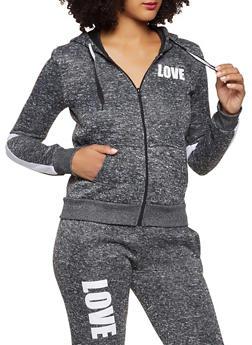 Love Graphic Zip Front Sweatshirt - 3056051066940