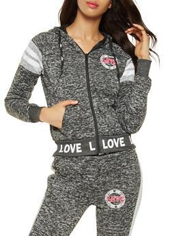 Love Graphic Zip Up Sweatshirt - 3056051067290