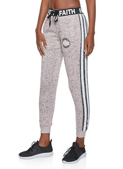 Marled Faith Graphic Joggers - 3056051067297