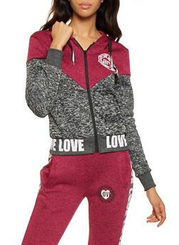 Love Graphic Zip Up Sweatshirt - 3056051067930
