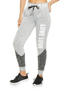 Love Graphic Marled Sweatpants - 3056051067931