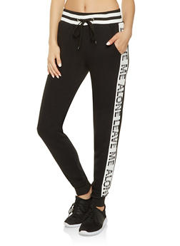 Graphic Side Stripe Sweatpants - BLACK - 3056051069771