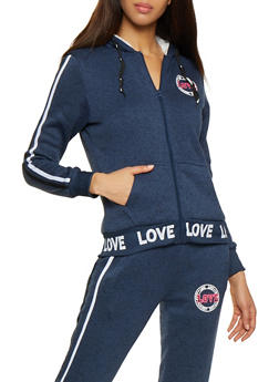 Love Graphic Sherpa Lined Sweatshirt - 3056051069810